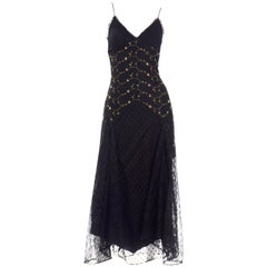 1990s Betsey Johnson Black Dot Lace Vintage Evening Dress w Floral Embroidery
