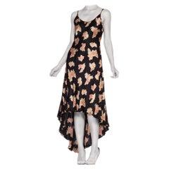 1990'S Betsey Johnson Bias Cut High-Low Floral Rose Slip Dress