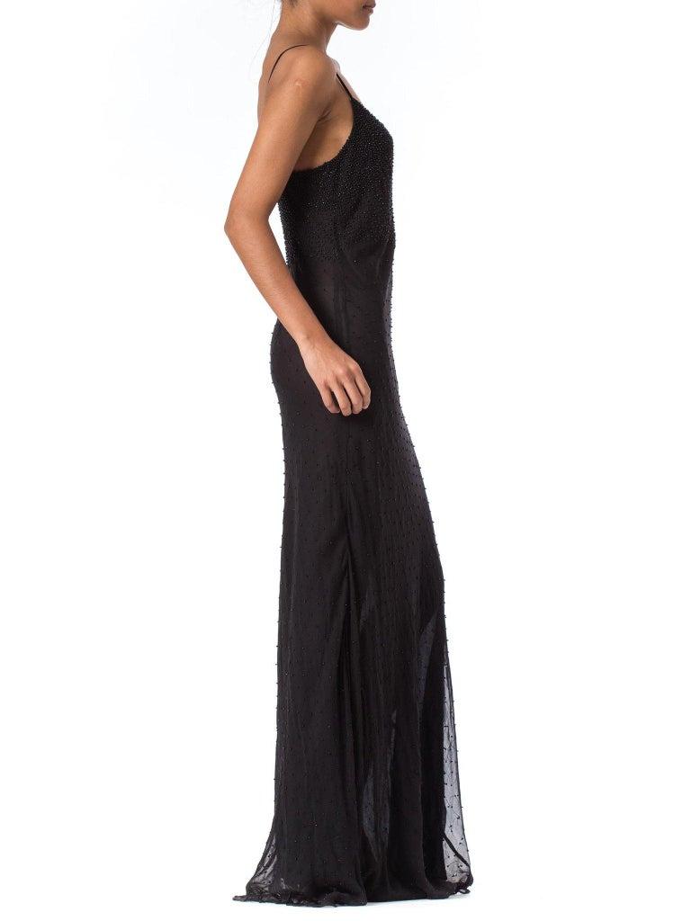 Women's 1990S Black Bias Cut Silk Chiffon Ombré Beaded Gown For Sale
