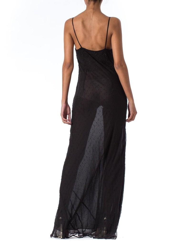 1990S Black Bias Cut Silk Chiffon Ombré Beaded Gown For Sale 1