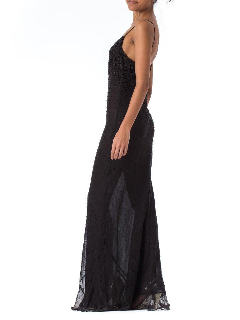 1990S Black Bias Cut Silk Chiffon Ombré Beaded Gown For Sale 2