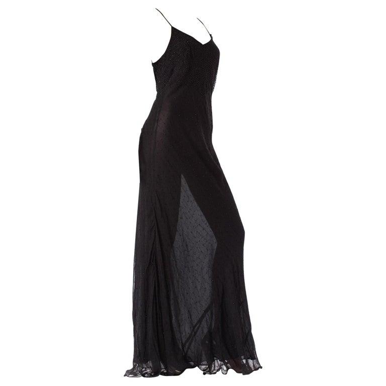 1990S Black Bias Cut Silk Chiffon Ombré Beaded Gown For Sale