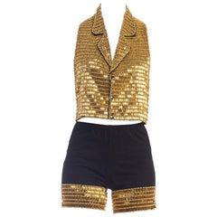 1990's Bike Shorts + Halter Vest Set Covered In Gold Beads Ensemble