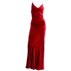 1990s Bill Blass Dress Vintage Red Velvet Bias Cut Evening Gown With Silk Lining