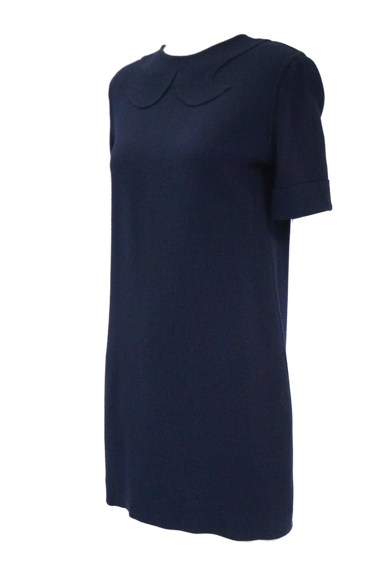 Black 1990s Bill Blass Navy Blue Shift Dress with Curved Neckline Detail For Sale