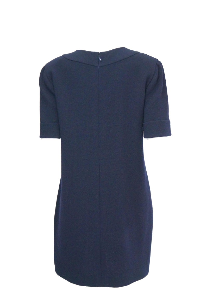 Women's 1990s Bill Blass Navy Blue Shift Dress with Curved Neckline Detail For Sale