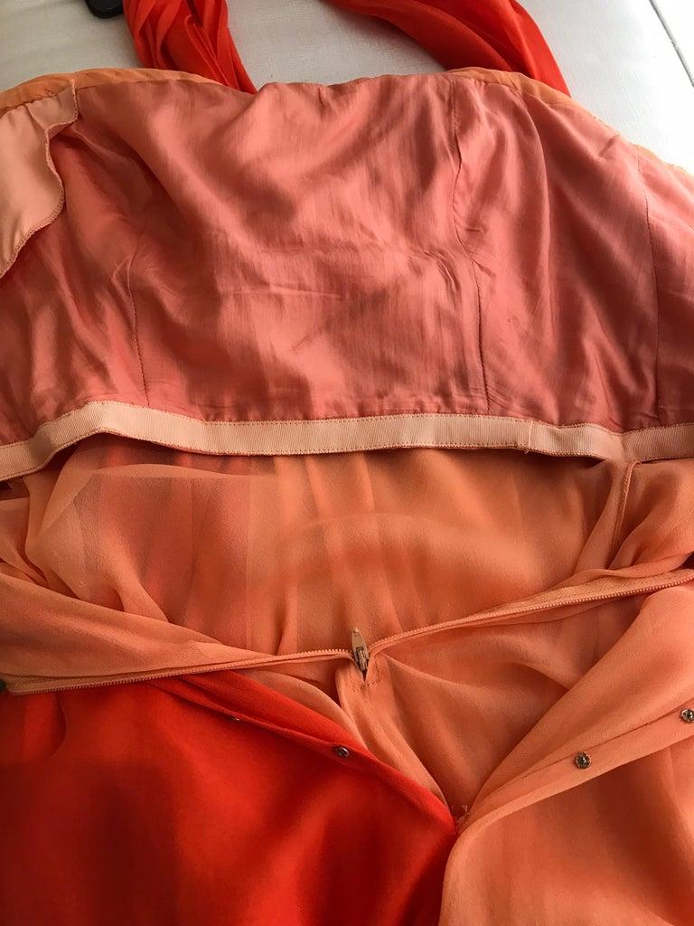 1990s Bill Blass Tangerine Orange Silk Chiffon Strapless Dress with Shawl For Sale 6
