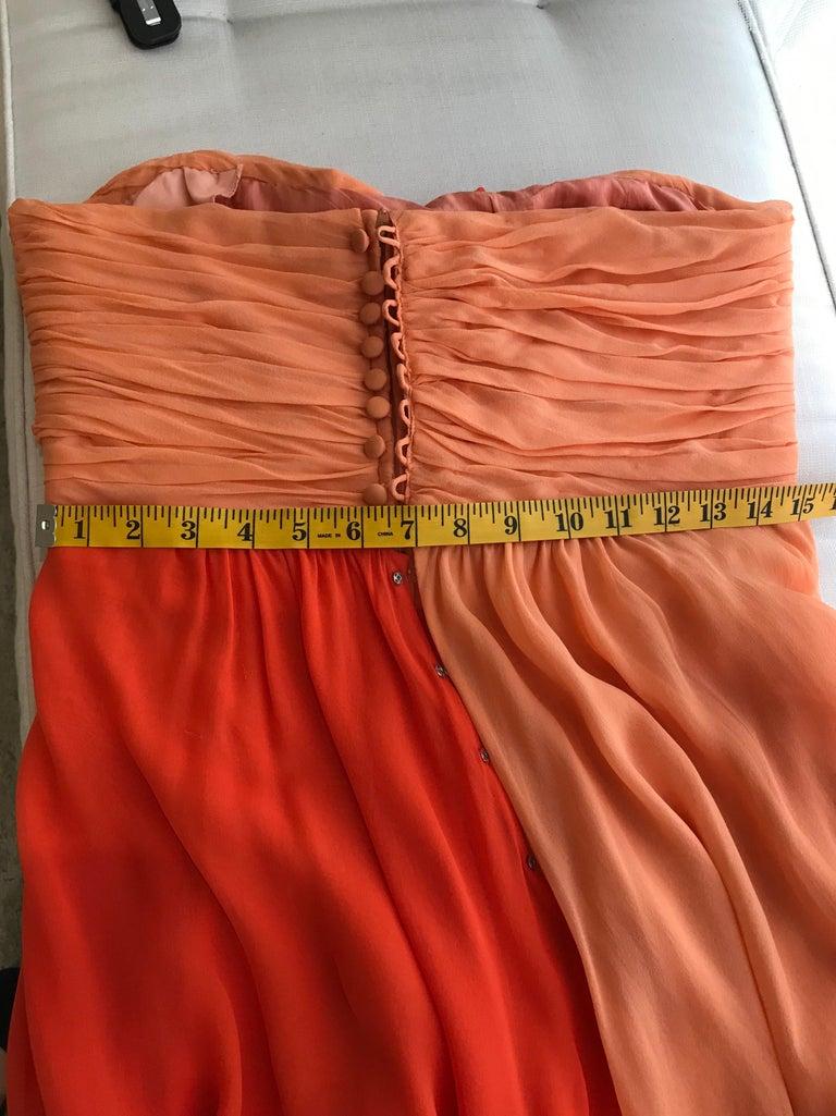 1990s Bill Blass Tangerine Orange Silk Chiffon Strapless Dress with Shawl For Sale 2