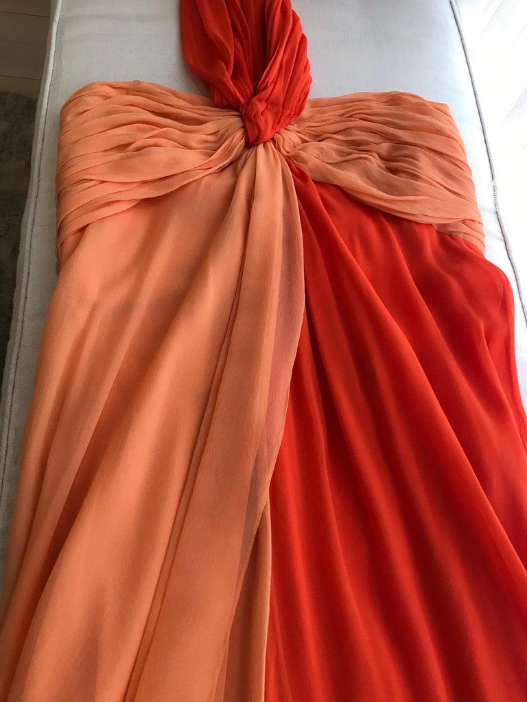 1990s Bill Blass Tangerine Orange Silk Chiffon Strapless Dress with Shawl For Sale 3