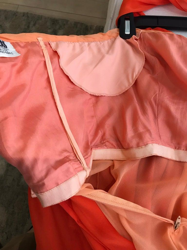 1990s Bill Blass Tangerine Orange Silk Chiffon Strapless Dress with Shawl For Sale 4