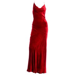 1990s Bill Blass Vintage Red Dress in Bias Cut Velvet Evening Gown W Silk Lining