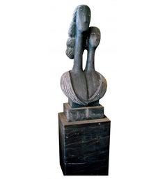1990s Black Belgium Marble Hand-Carved Abstract Sculpture and Base