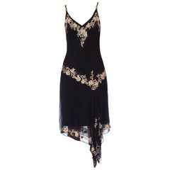 1990S Black Bias Cut Silk Chiffon Galliano Style Floral Embroidered Dress