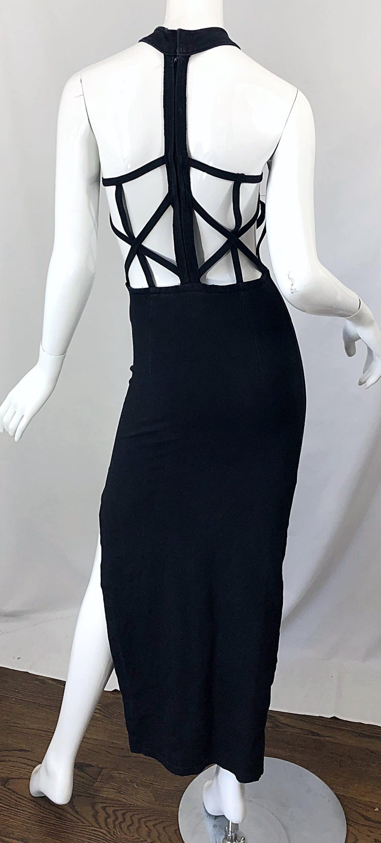 1990s Black Caged Bodycon Sexy Cotton Vintage Early 90s Cut - Out Gown Dress For Sale 7
