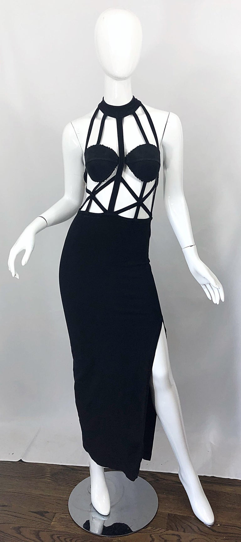 Sexy early 90s designer black vintage cut-out cage / spiderweb bodcon stretch gown / dress ! Features cut-outs on the front and back. Comfortable cotton jersey stretches to fit. Such a sexy flattering gem that looks like Jean Paul Gaultier, Claude