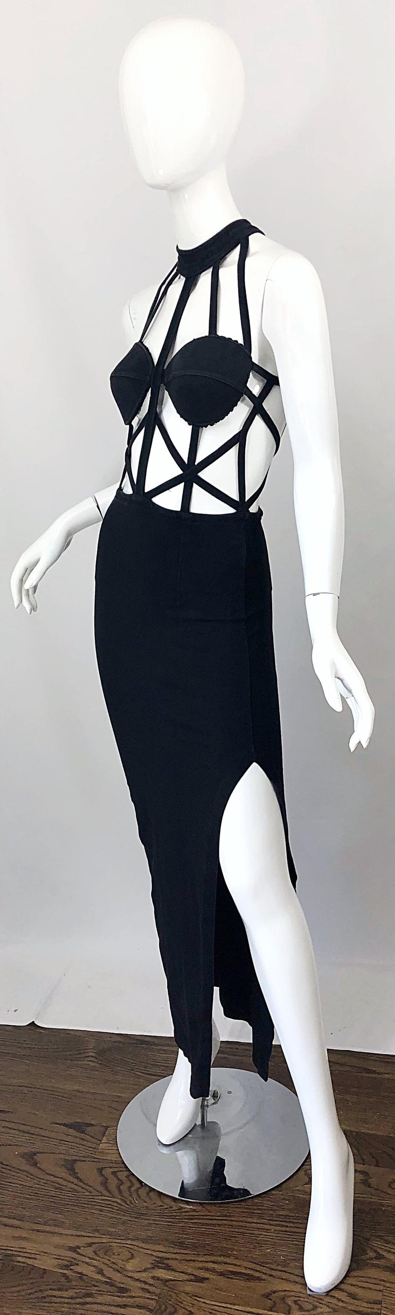 Women's 1990s Black Caged Bodycon Sexy Cotton Vintage Early 90s Cut - Out Gown Dress For Sale