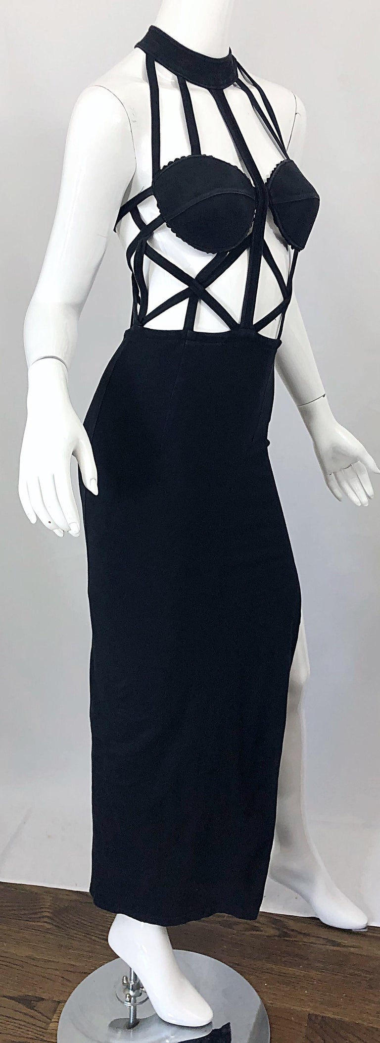 1990s Black Caged Bodycon Sexy Cotton Vintage Early 90s Cut - Out Gown Dress For Sale 1
