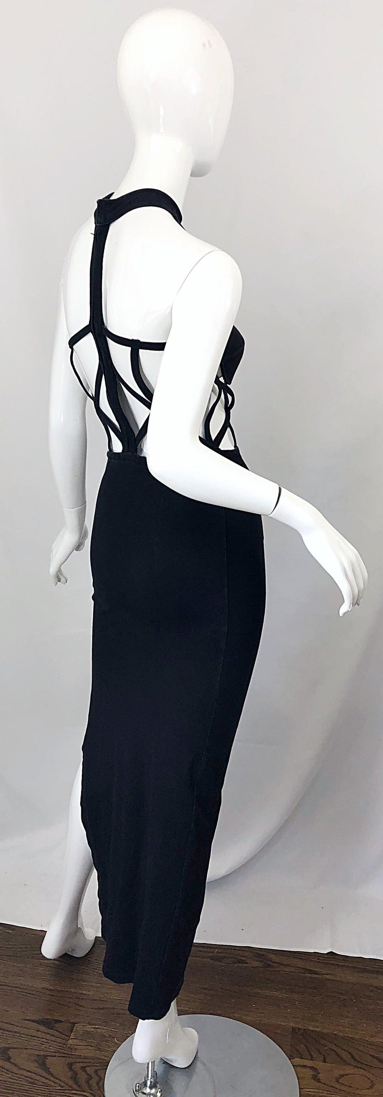 1990s Black Caged Bodycon Sexy Cotton Vintage Early 90s Cut - Out Gown Dress For Sale 2