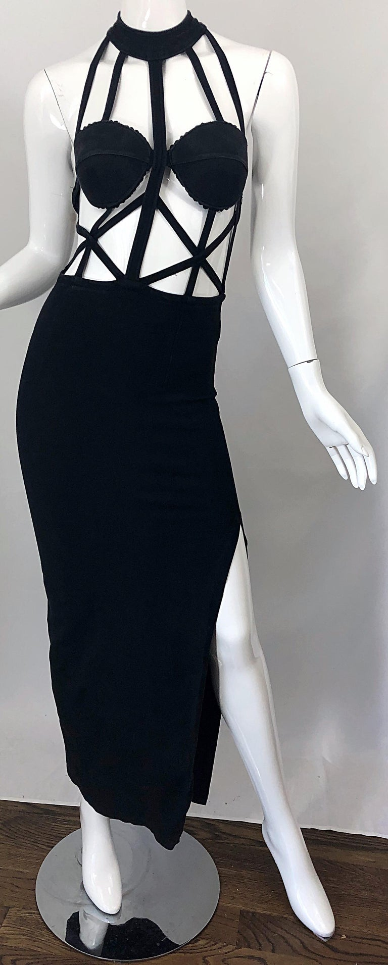 1990s Black Caged Bodycon Sexy Cotton Vintage Early 90s Cut - Out Gown Dress For Sale 4