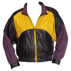 1990S Black Leather Men's Bomber Jacket With Yellow, Purple & Red Silk Color Blo