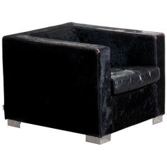 1990s, Black Lounge Chair in Pony and Leather by Rodolfo Dordoni for Minotti
