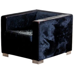 1990s, Black Lounge Chair in Pony Coat Leather by Rodolfo Dordoni for Minotti