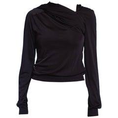 1990S Black Poly/Lycra Jersey Asymmetrical Hooded Top
