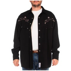 1990S Black Poly/Rayon Embroidered Goth Western Men's Shirt