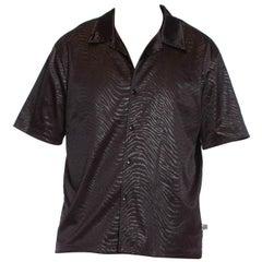 1990S Black Polyester On Tiger Print Men's Shirt