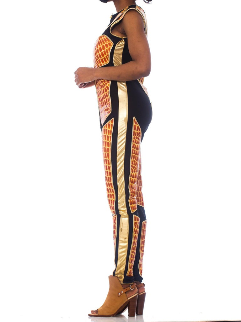 Brown 1990S Black Polyester Spandex Jumpsuit With Embossed Crocodile Skin & Gold Leat For Sale