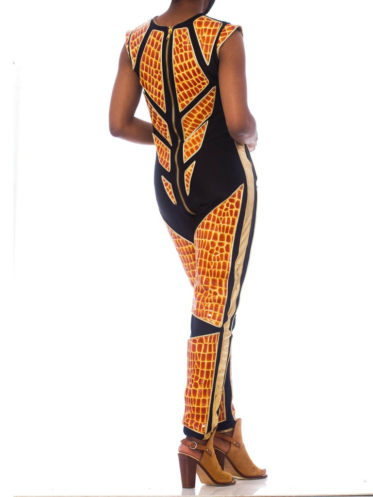 1990S Black Polyester Spandex Jumpsuit With Embossed Crocodile Skin & Gold Leat For Sale 1