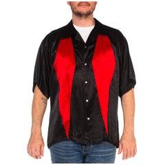 1990S Black & Red Poly/Viscose Satin Rockabilly Rat Pack Dice Button Shirt