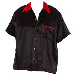 """1990S Black & Red Rayon Satin """"Pimp Daddy"""" Rockabilly Men's Shirt With Dice Butt"""