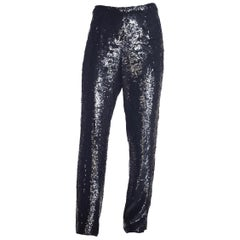 1990S Black Sequined Silk Chiffon Wide Leg Evening Pants