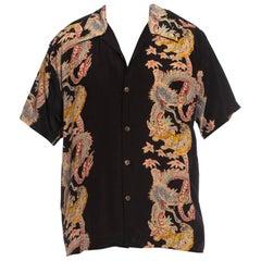 1990S Black Silk Men's Japanese Tiger & Dragon Printed Shirt