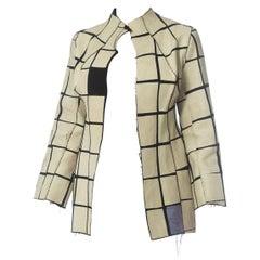 1990S Black & White Hand Printed Wool Blend Geometric Deconstructed Minimalist
