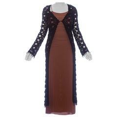 1990S Black Wool Blend Crochet Maxi Duster With Beads