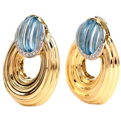 1990s Blue Topaz Diamond 18 Karat Yellow Gold Oval Hoop Clip-On Earrings
