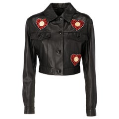 1990s Blumarine by Anna Molinari Black Leather Jacket