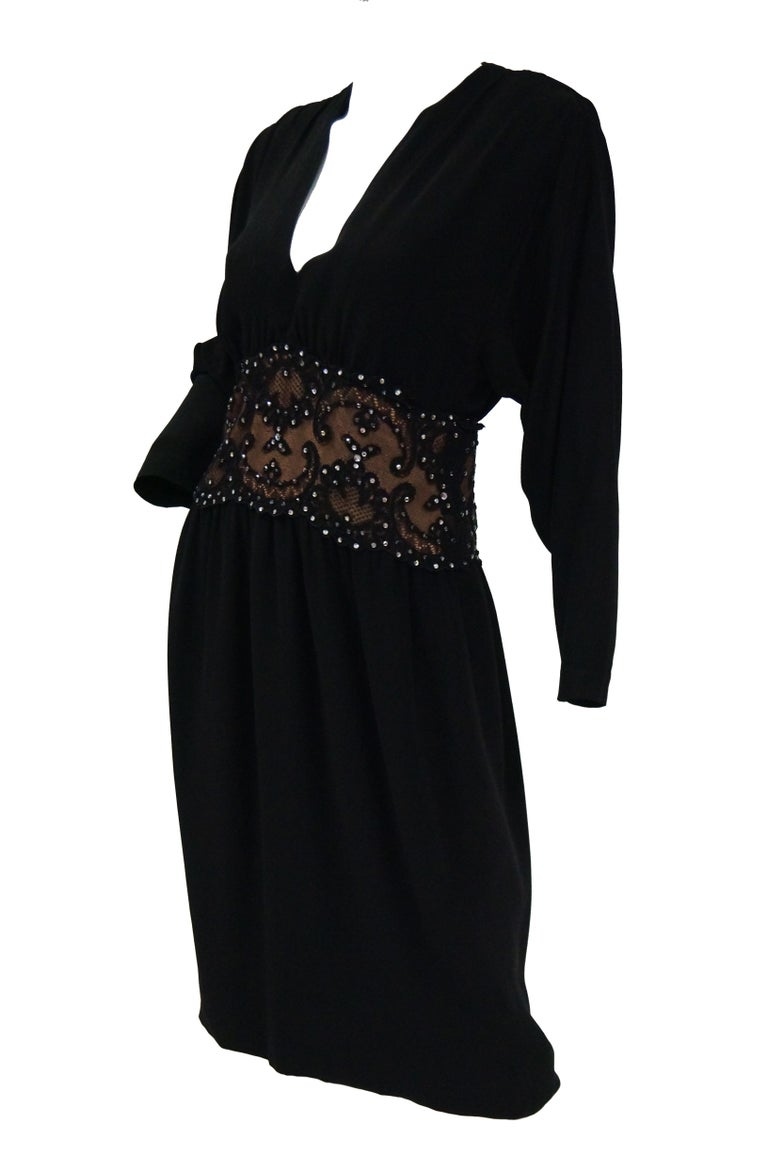 1990s Bob Mackie Black Silk, Lace, and Rhinestone Cocktail Dress For Sale 1