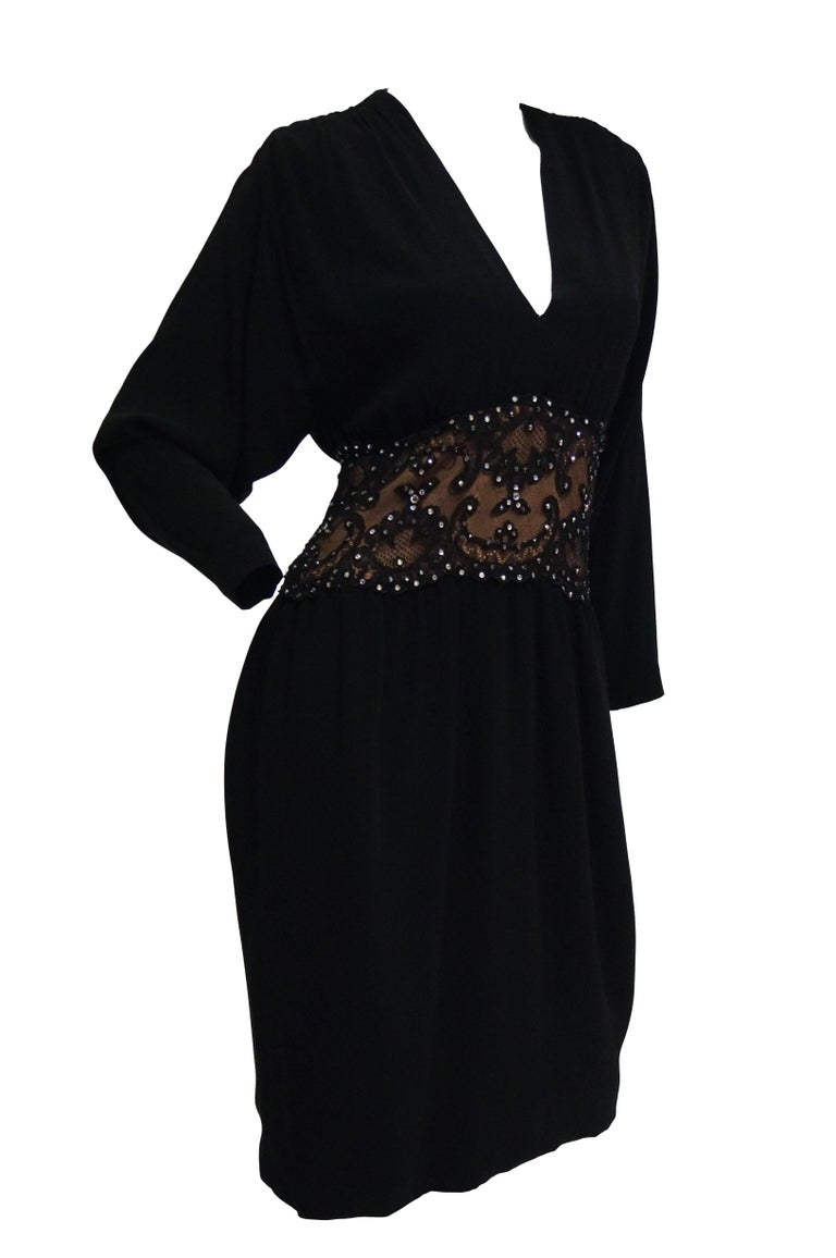 1990s Bob Mackie Black Silk, Lace, and Rhinestone Cocktail Dress For Sale 2