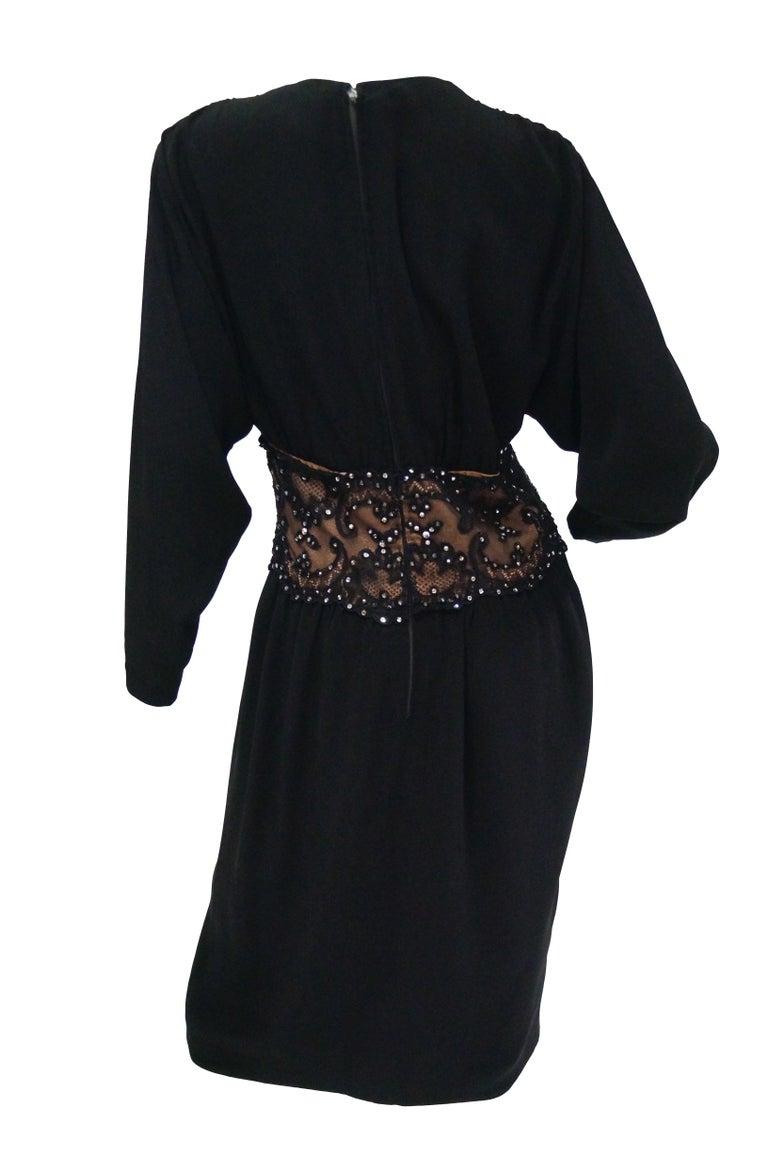 1990s Bob Mackie Black Silk, Lace, and Rhinestone Cocktail Dress For Sale 3
