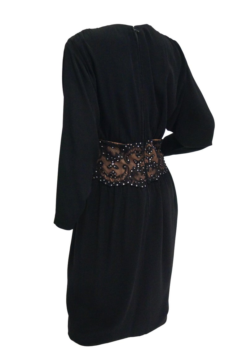 1990s Bob Mackie Black Silk, Lace, and Rhinestone Cocktail Dress For Sale 4