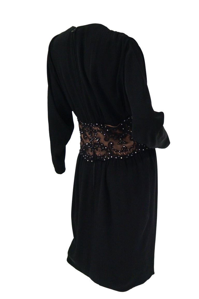 1990s Bob Mackie Black Silk, Lace, and Rhinestone Cocktail Dress For Sale 5