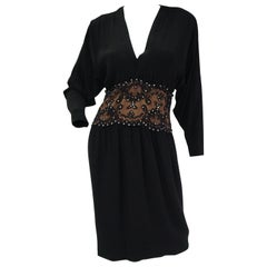 1990s Bob Mackie Black Silk, Lace, and Rhinestone Cocktail Dress