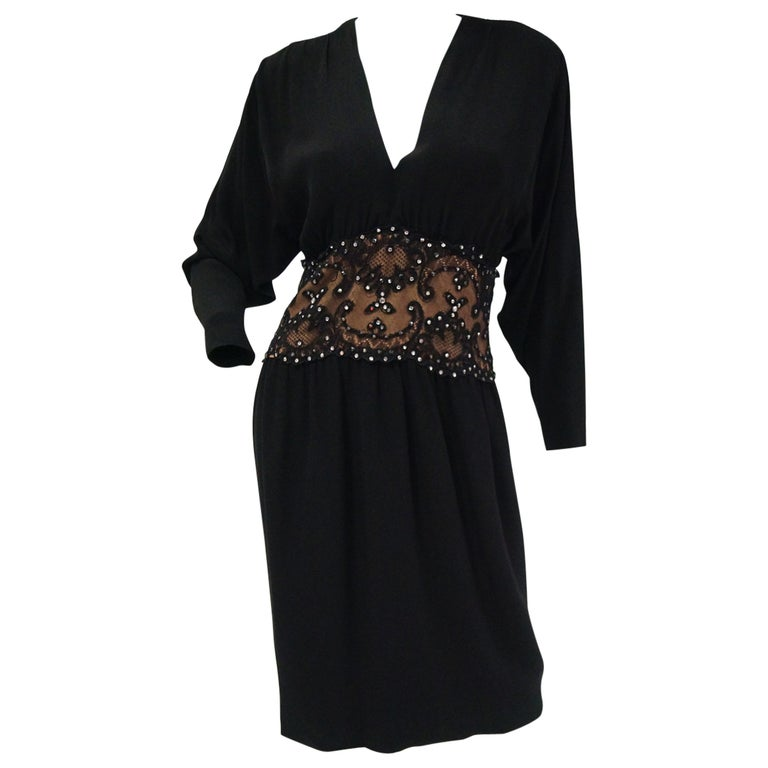 1990s Bob Mackie Black Silk, Lace, and Rhinestone Cocktail Dress For Sale