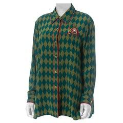 1990S BOB MACKIE Green & Blue Silk Harlequin Blouse