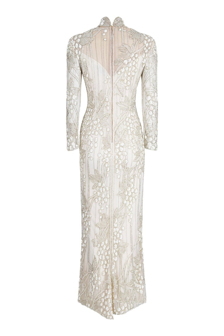 Beige 1990s Bob Mackie Ivory Beaded Couture Bridal Gown With Bunch of Grapes Design For Sale