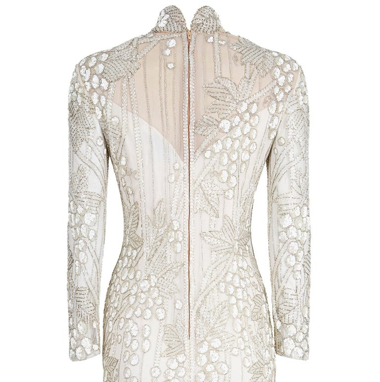Women's 1990s Bob Mackie Ivory Beaded Couture Bridal Gown With Bunch of Grapes Design For Sale