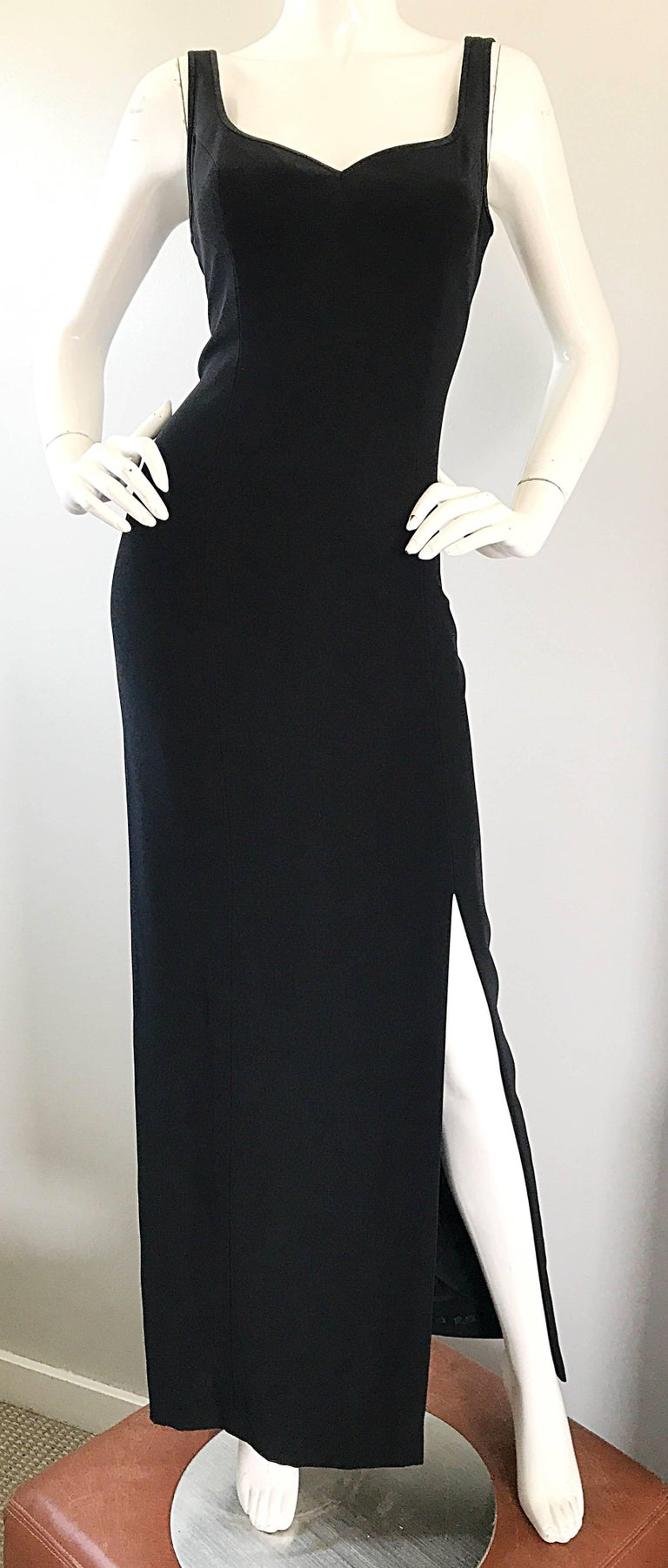 Women's 1990s Bob Mackie Size 10 Black Crepe Sexy 90s Vintage High Slit Evening Gown  For Sale